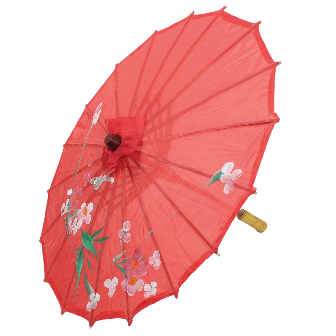 Party Dancing Chinese Style Plastic Wood Ribs Flower Leaf Print Red Nylon Cover Mini Parasol Umbrella