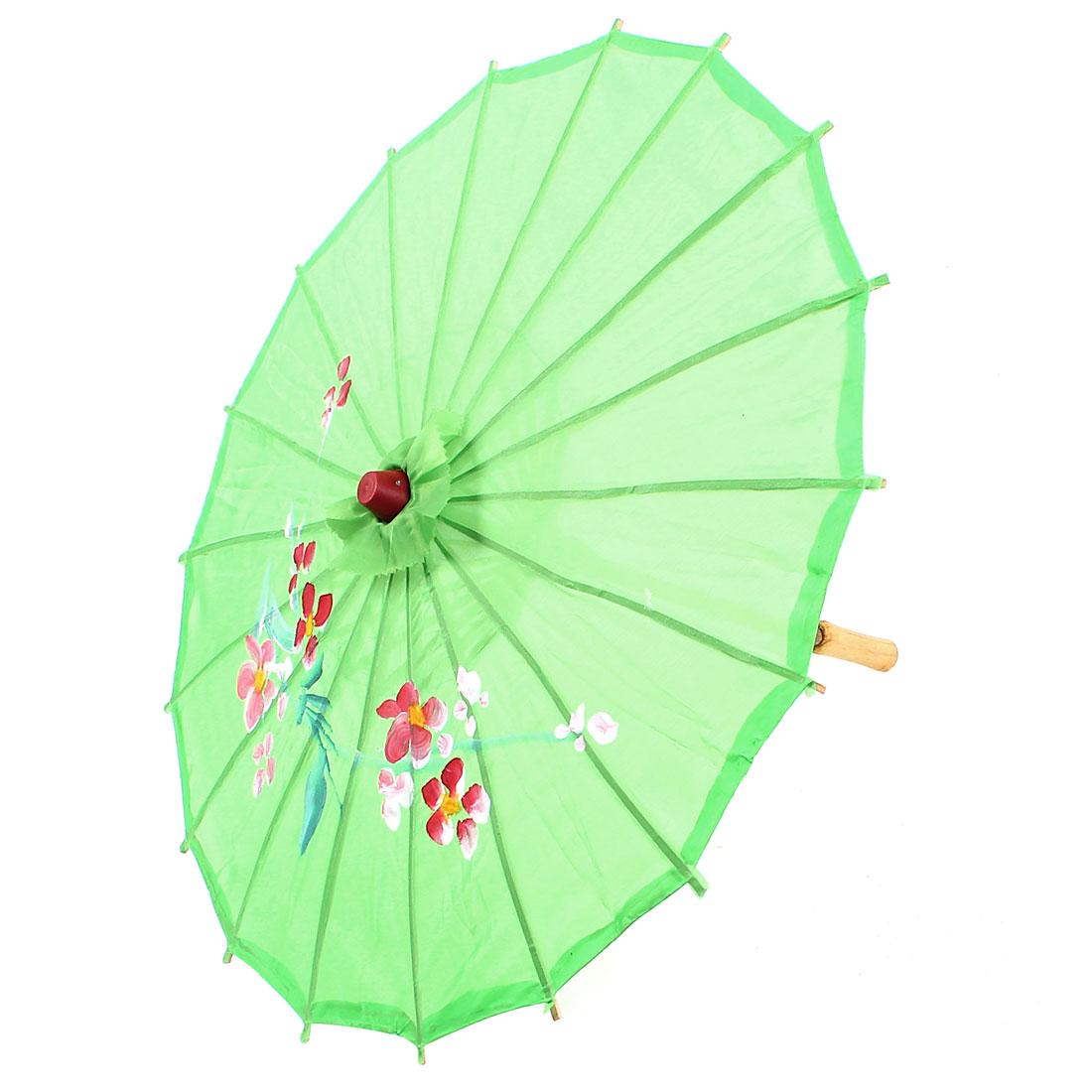 Party Plastic Wood Ribs Flower Pattern Green Nylon Cover Mini Parasol Umbrella