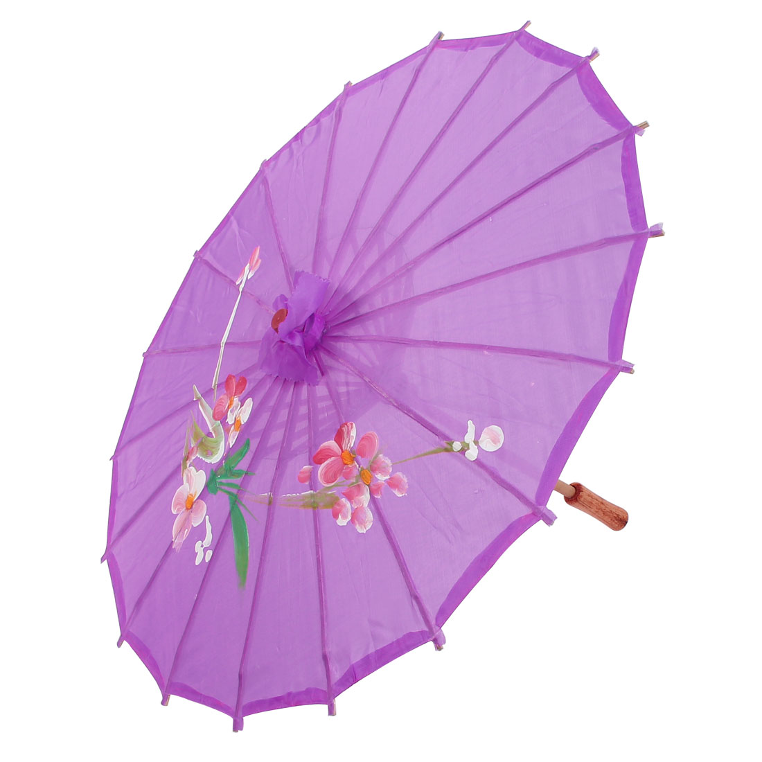 Party Dancing Chinese Style Plastic Wood Ribs Flower Leaf Print Purple Nylon Cover Mini Parasol Umbrella