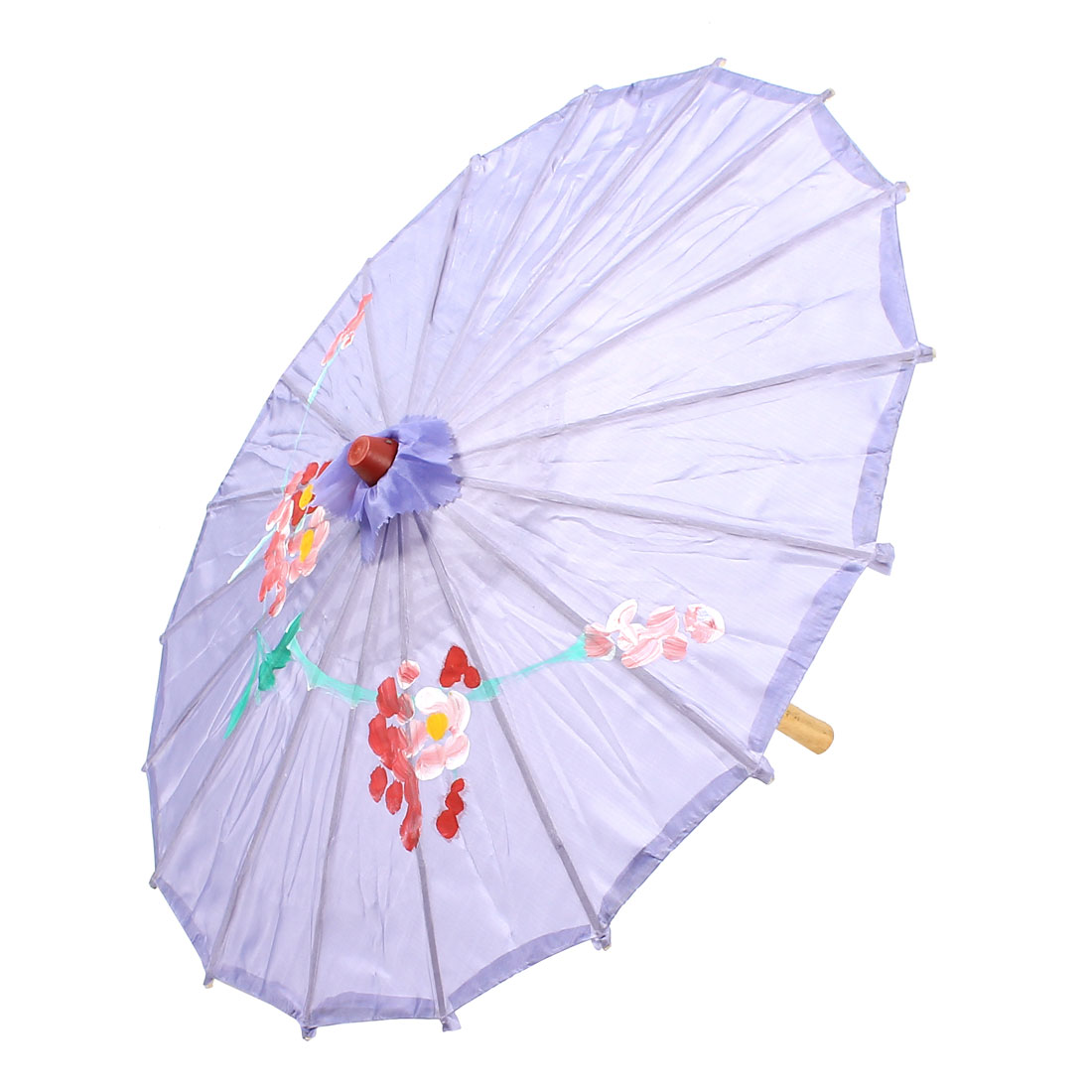 Party Dancing Plastic Wood Rib Flower Print Lavender Cover Mini Parasol Umbrella