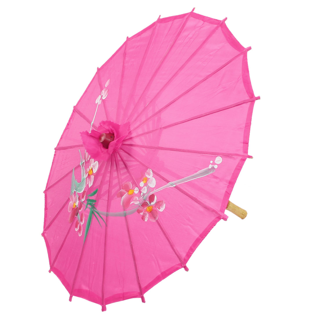 Party Dancing Chinese Style Plastic Wood Ribs Flower Leaf Print Fuchsia Nylon Cover Mini Parasol Umbrella