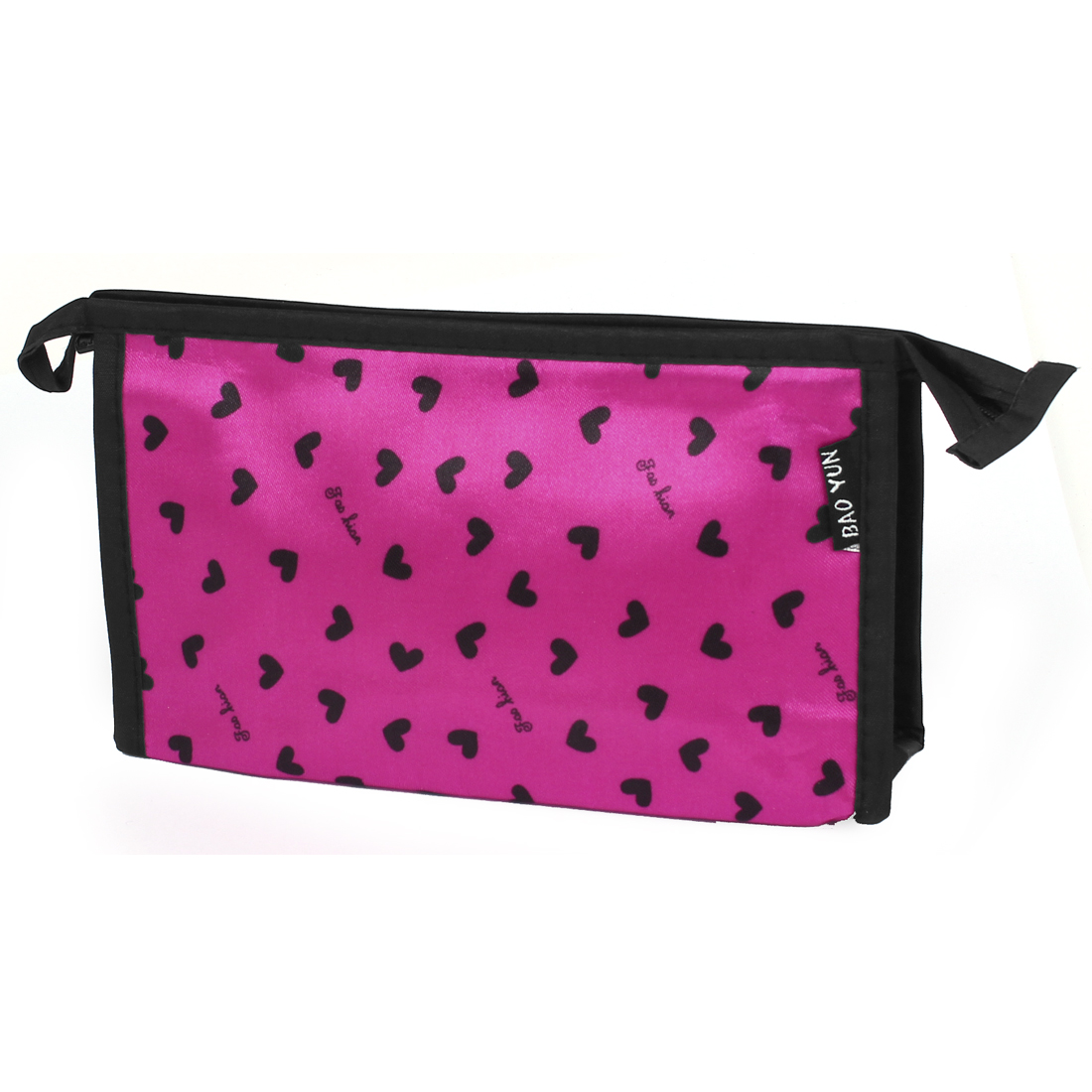 Women Travel Polyester Heart Pattern Makeup Beauty Cosmetic Toiletry Bag Fuchsia