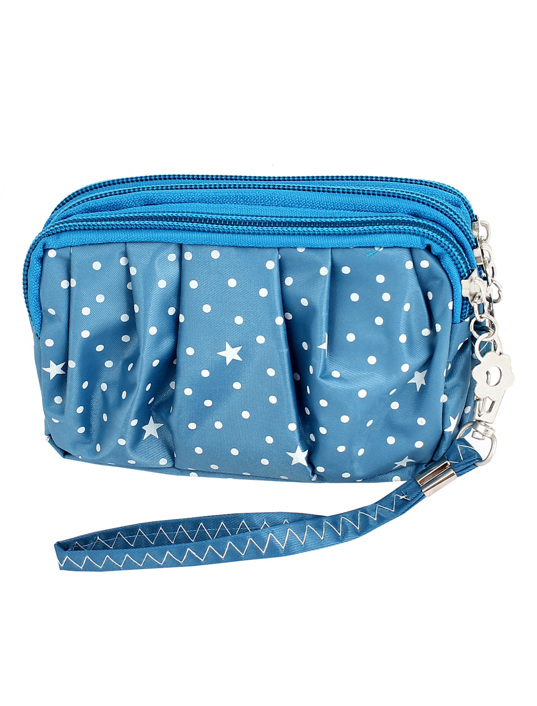 Lady Dot Pattern 3 Zipper Closure Handhold Cellphone Wallet Purse Royal Blue