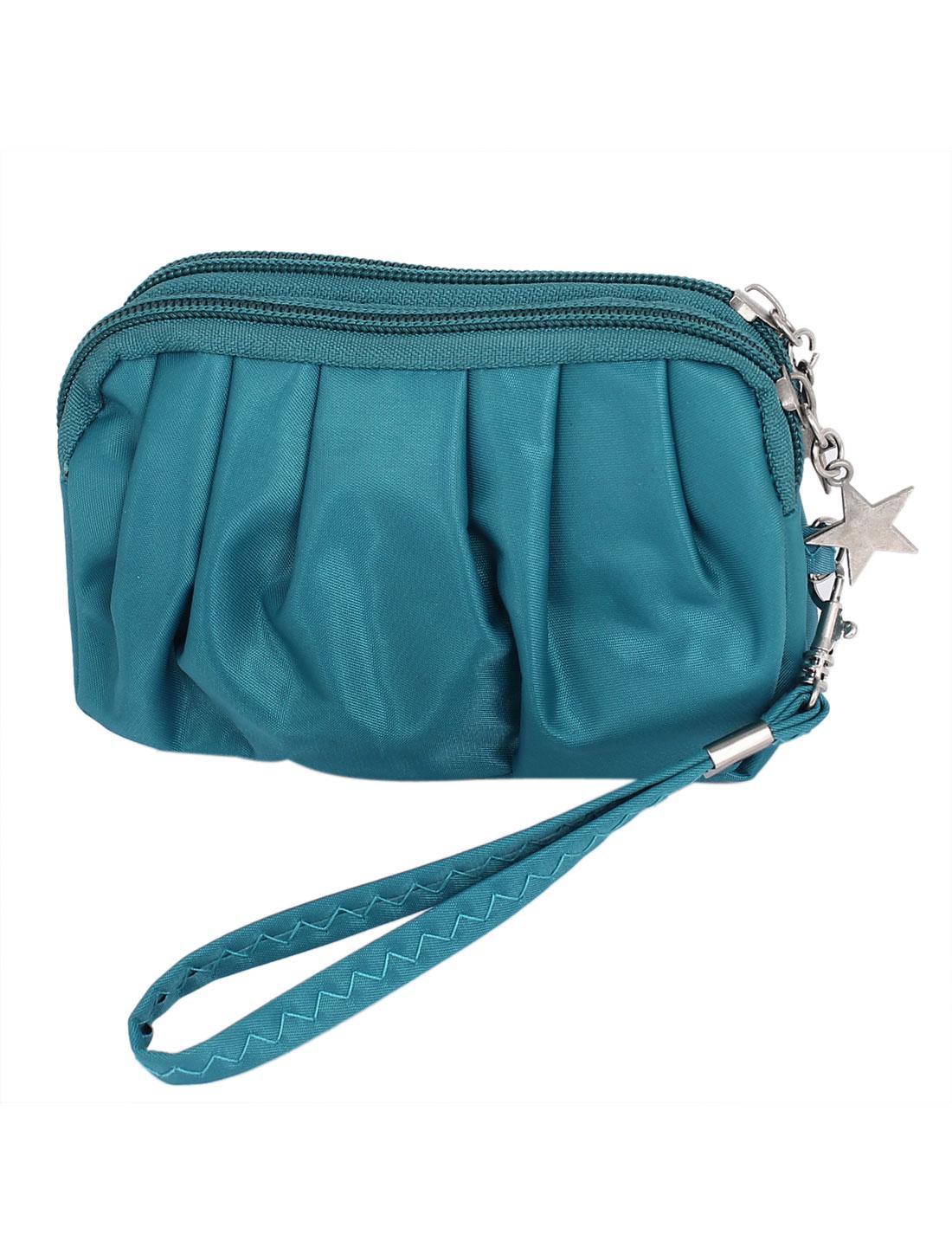 Lady Double Zipper Closure Handhold Cellphone Coin Wallet Purse Royal Blue