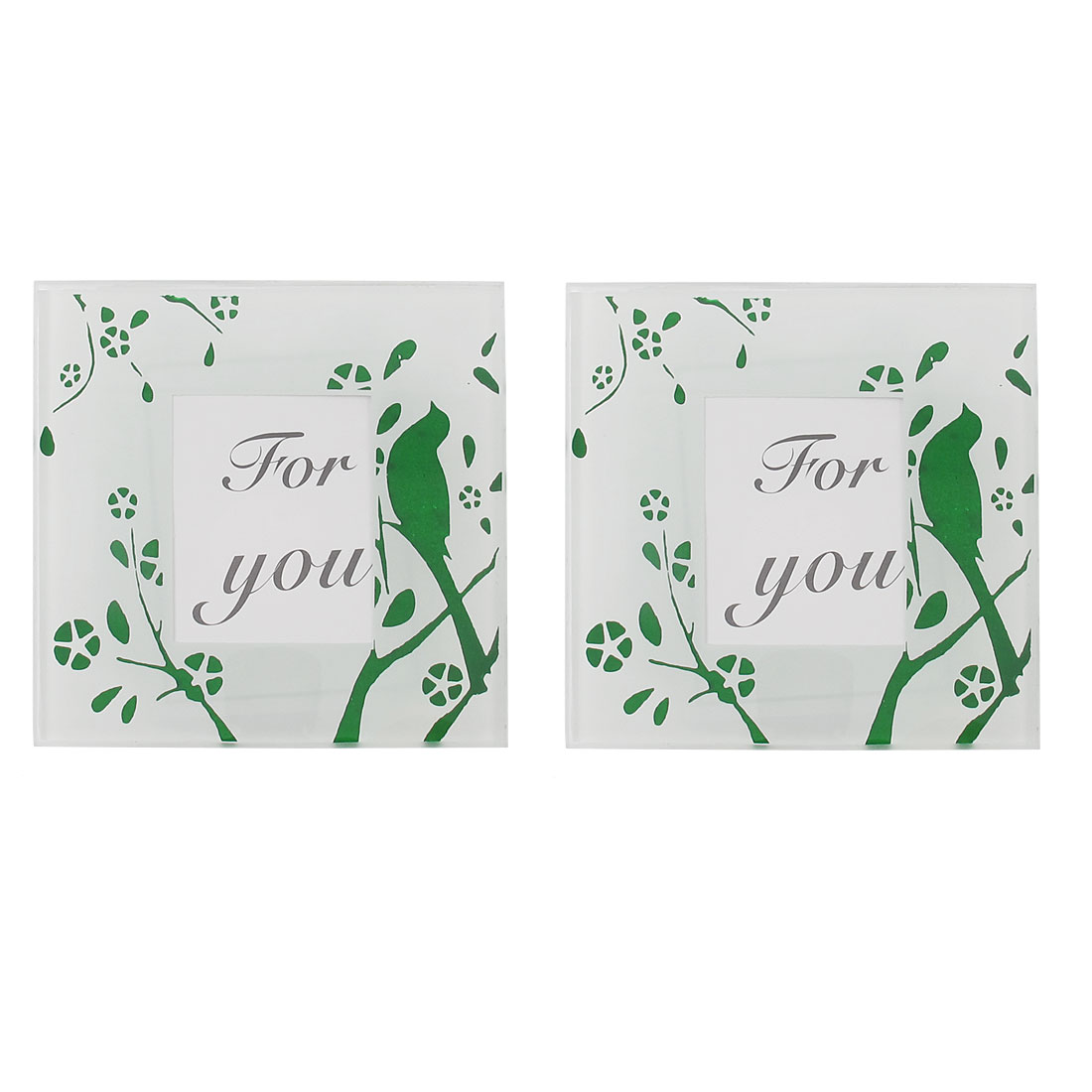 Bird Tree Print Glass Heat Insulated Cup Mug Pad Mat Coaster Green Pair