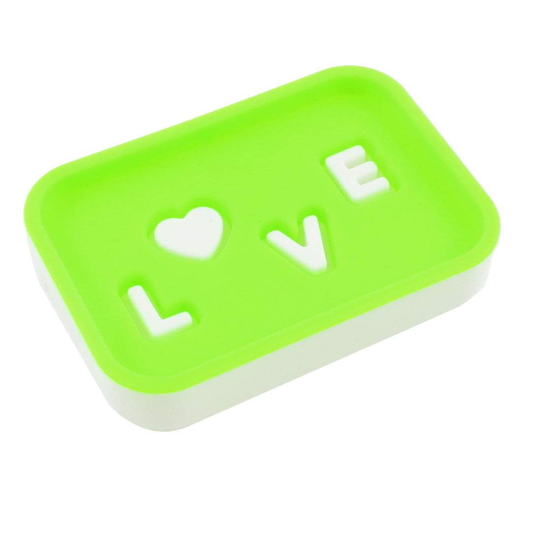 Double Layer Rectangle Green White Plastic Soap Box Case Storage Holder Dish