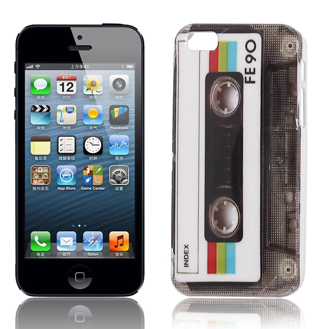 Cassette Pattern Hard Protective Back Case Cover White for iPhone 5S 5G