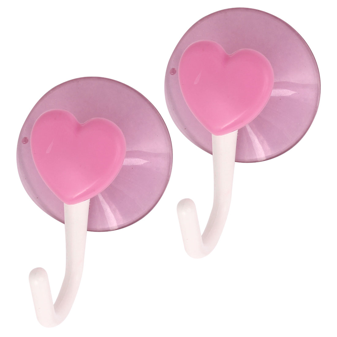Kitchen Bath Towel Heart Shape Suction Cup Hook Wall Hangers White Pink 2 Pcs