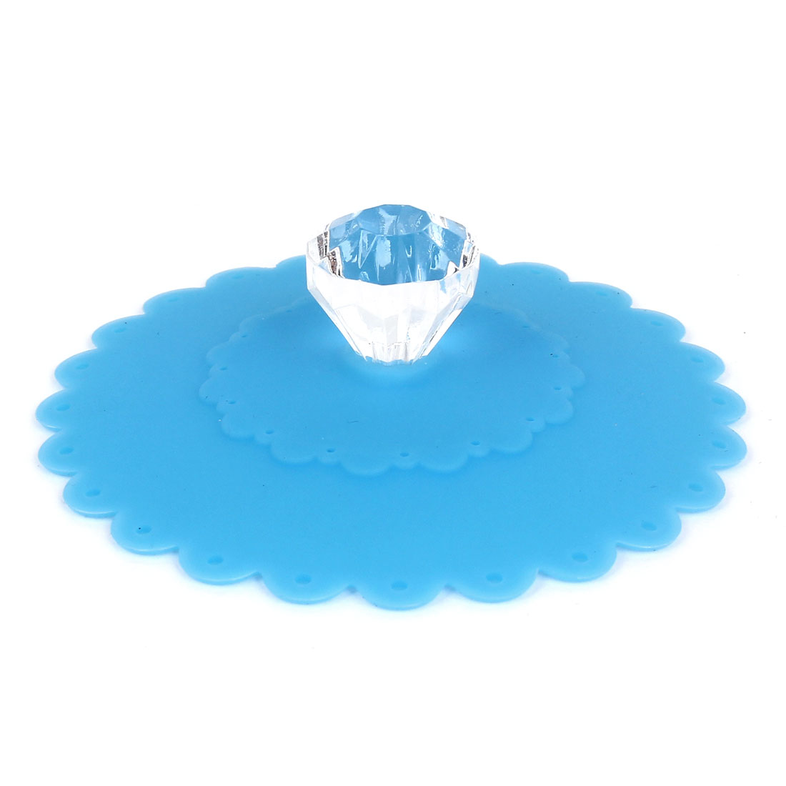 Faux Crystal Knob Silicone Coffe Tea Water Cup Mug Dust Cover Lid Blue