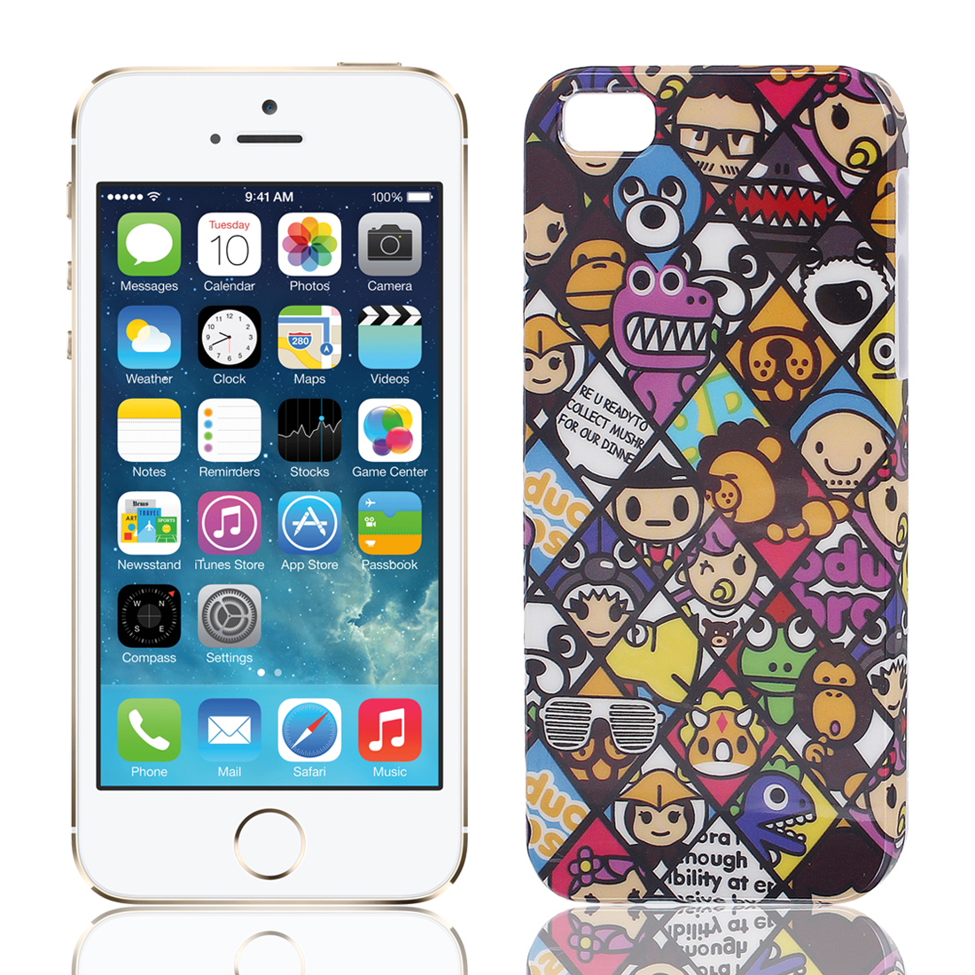Cartoon Pattern Hard Protective Back Case Cover White for iPhone 5S 5G