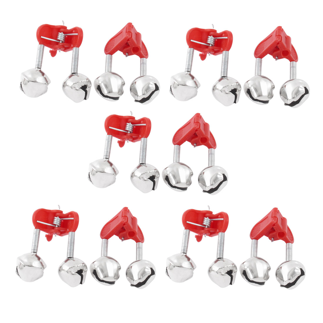 10pcs Fishing Rod Clamp Tip Fish Bite Lure Alarm Alert Clip Twin Bells Ring Red