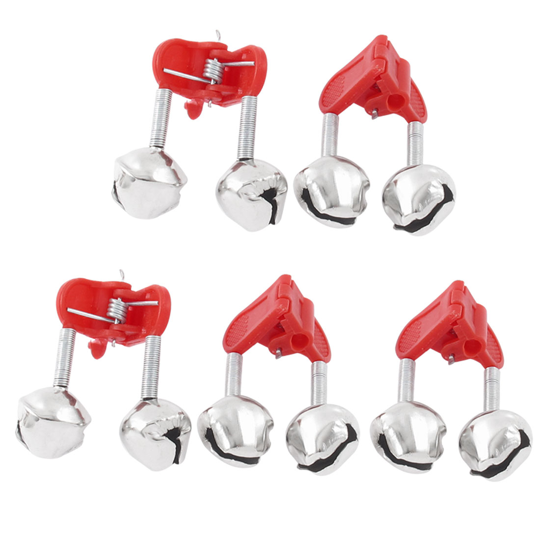 5pcs Fishing Rod Clamp Tip Fish Bite Lure Alarm Alert Clip Twin Bells Ring Red