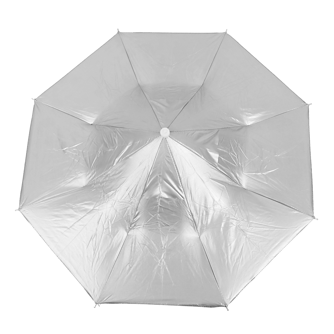 Travel Camping Fishing Elastic Headband Folded Rain Sun Umbrella Hat Silver Tone