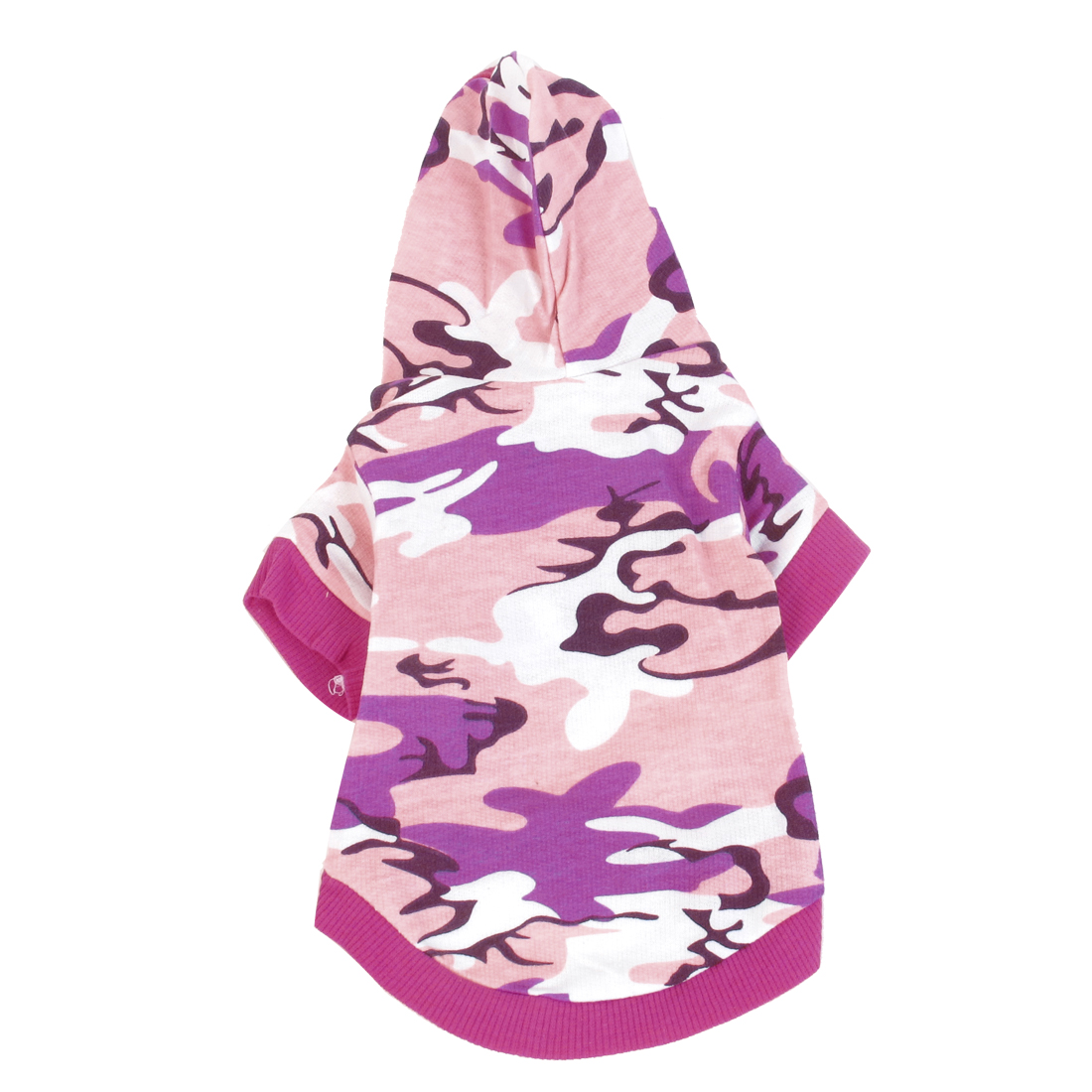 Camouflage Pattern Single Breasted Hooded Pet Dog Yorkie Cat Coat Apparel Pink S