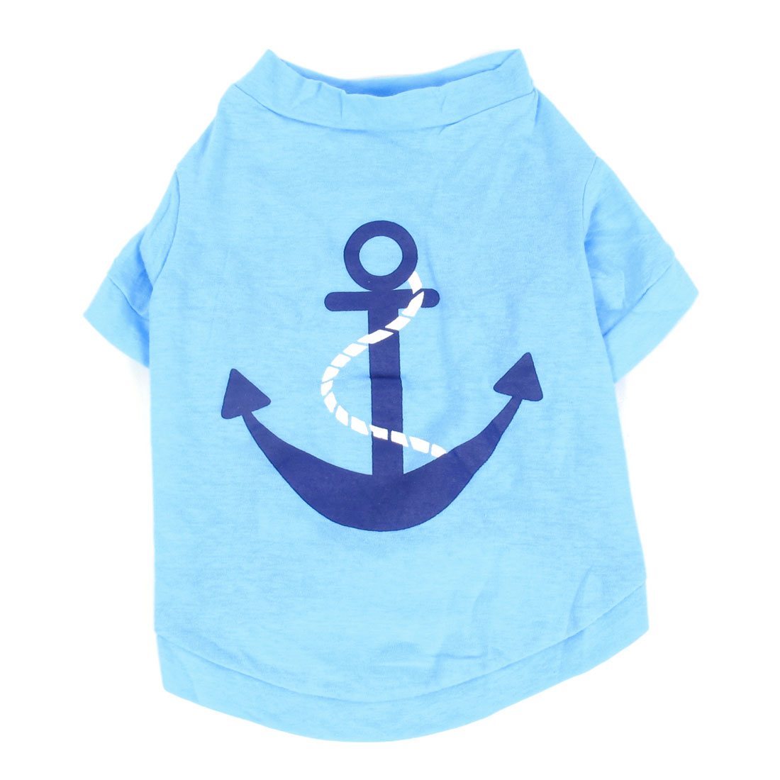Anchor Pattern Sleeved Pet Dog Yorkie Cat Stretchy Coat Apparel Tee Shirt Blue M