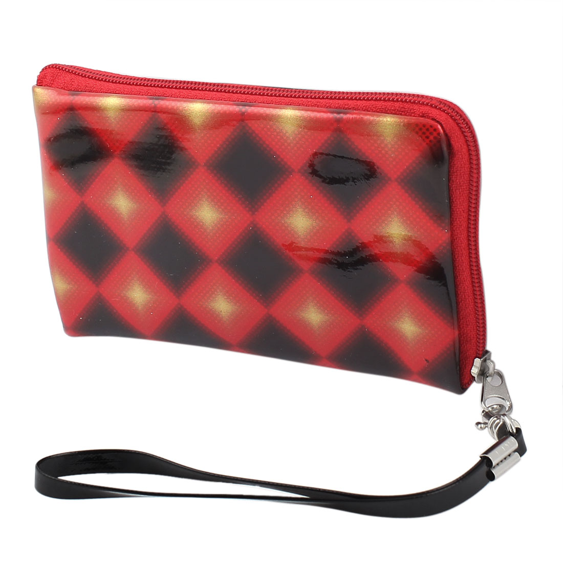 Patent Leather Rhombus Pattern Detachable Wrist Strap Cell Phone Bag Pouch Red