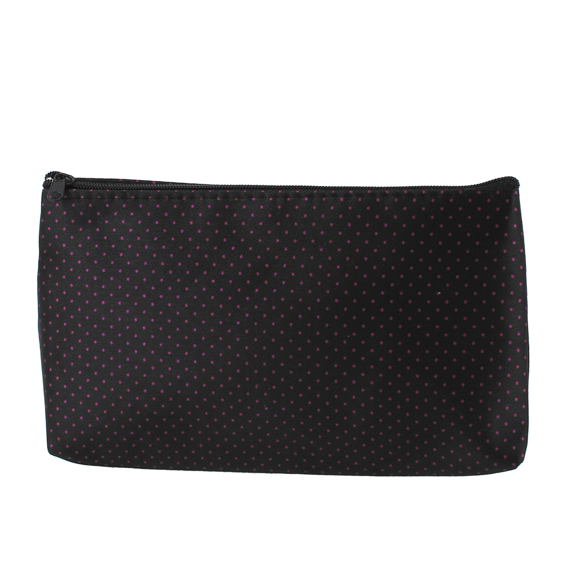 Lady Fuchsia Dots Printed Rectangular Makeup Holder Cosmetic Pouch Bag Black