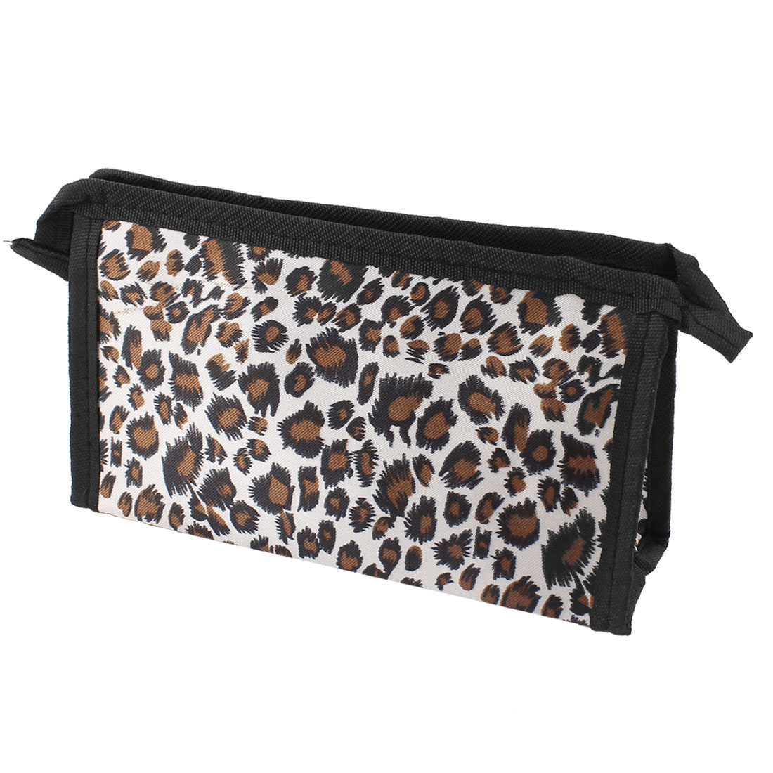 Lady Leopard Print Zippered Rectangular Makeup Holder Cosmetic Pouch Bag