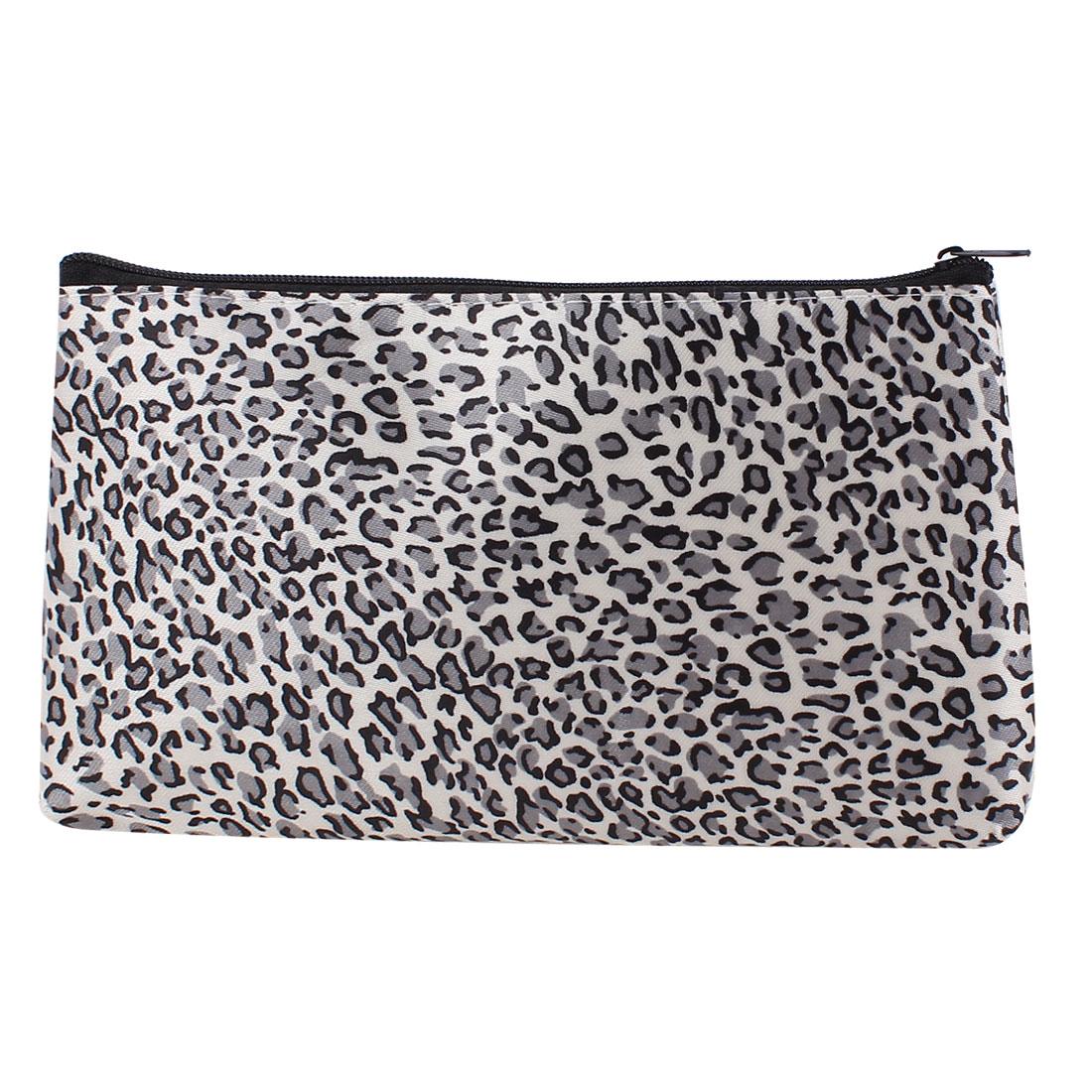 Woman Leopard Print Zip Up Rectangular Makeup Holder Cosmetic Pouch Bag