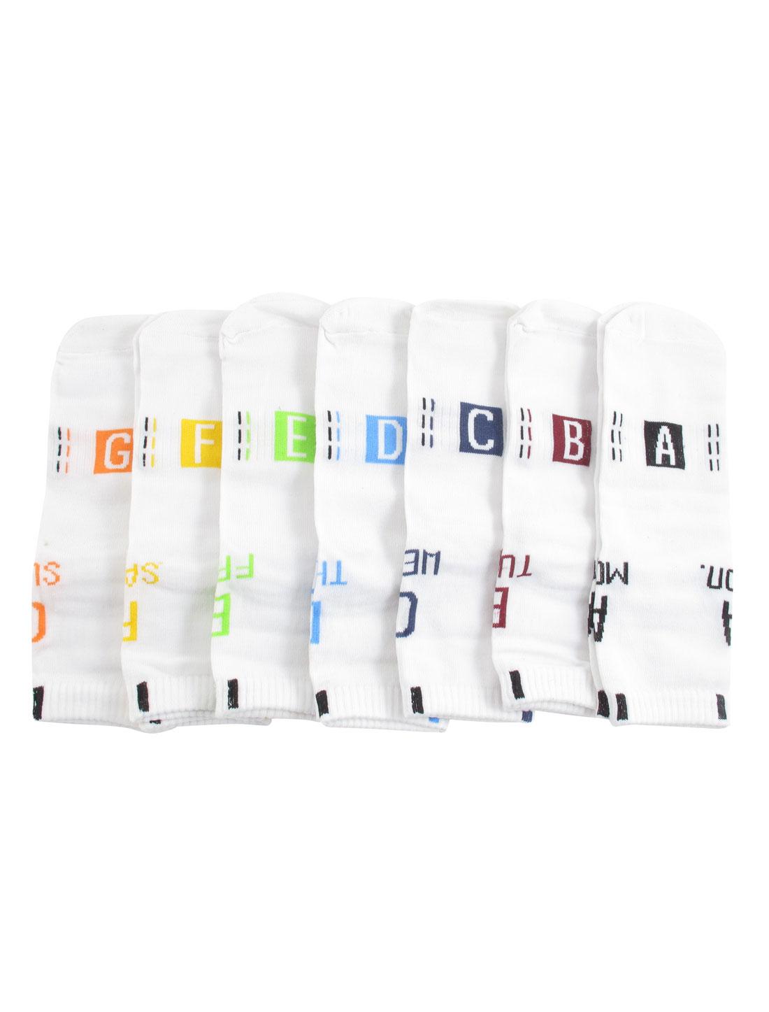 Man Soft Letters Pattern Elastic Ankle High Hosiery Week Socks White 7 Pairs