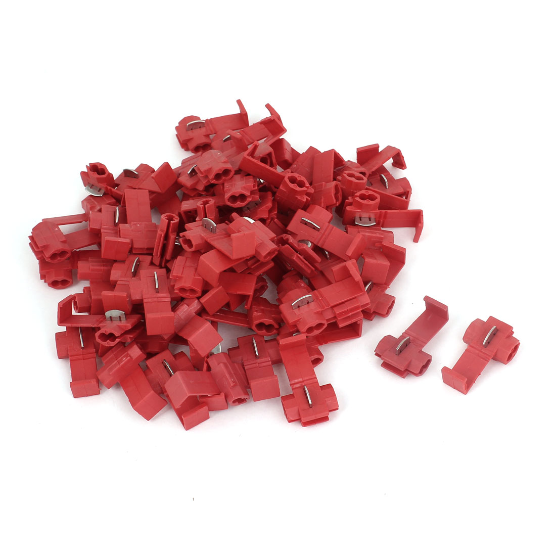 100 Pcs Auto Car 2.5mm 2 Cable Splitter Button Clip Wire Quick Connector Red