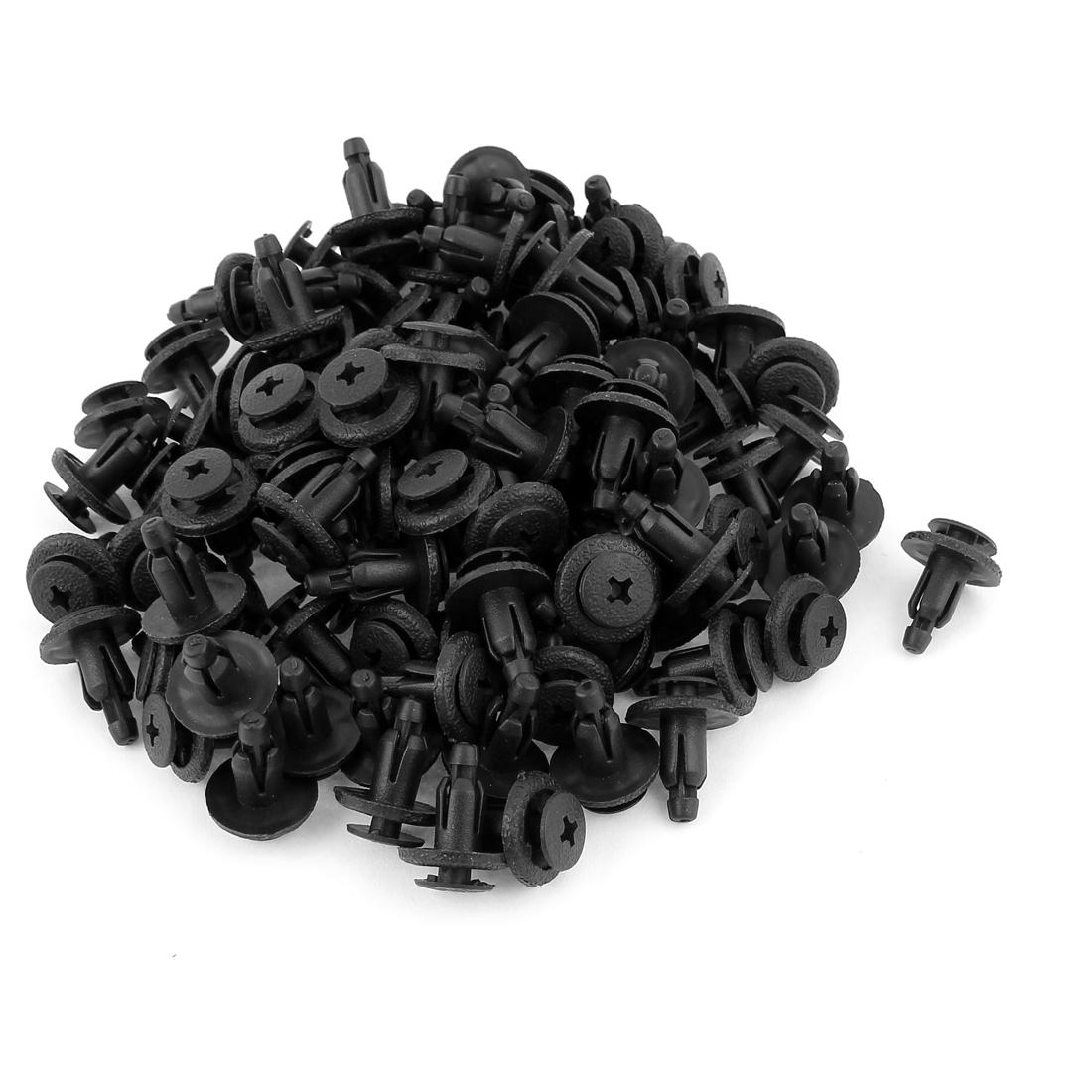 100 Pcs Black Plastic Push in Car Bumper Fender Door Rivets Retainer Clip 7mm Hole