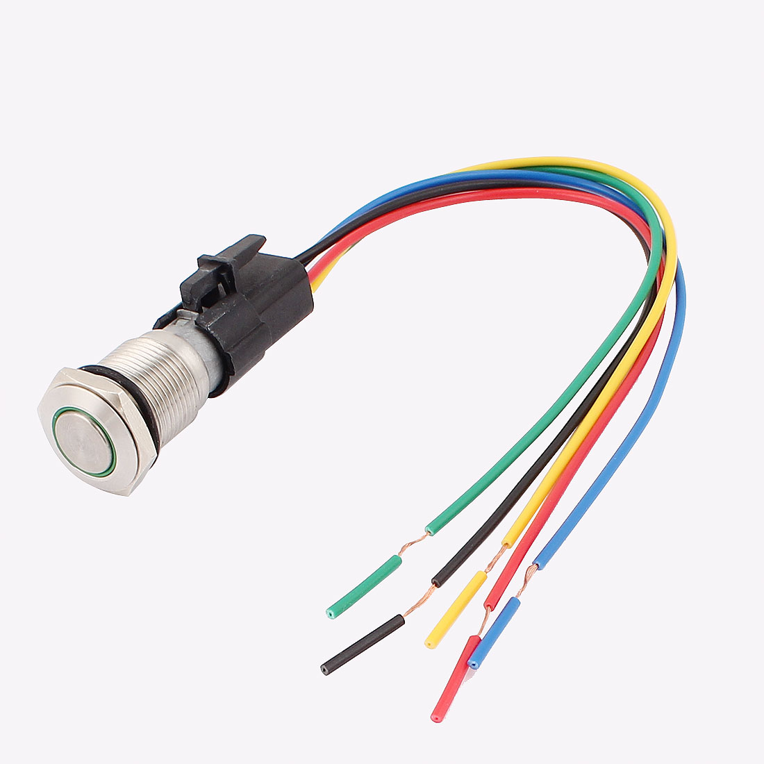 DC 12V Green LED Angle Eye SPDT Latching Car Push Button Switch 16mm w Wire