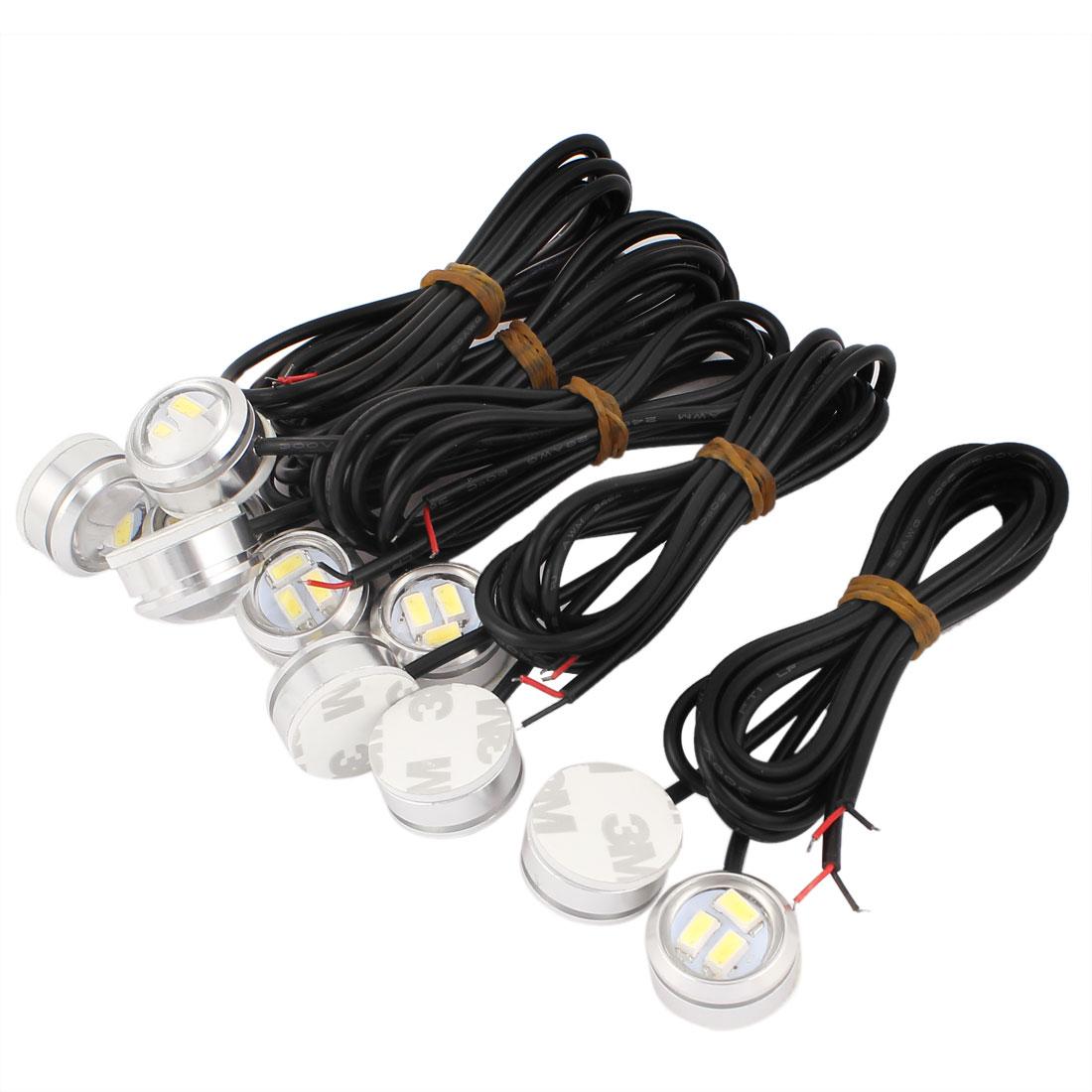 10 Pcs White 5630 SMD 3 LED Car Eagle Eye Rear Daytime Running Reversing Lights Tail Lamps DC 12V