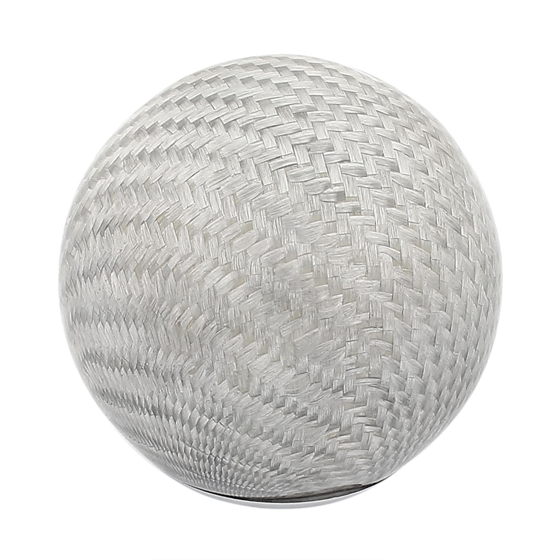 Silver Tone Carbon Fiber Round Ball Shape Car Gear Shift Knob Handle Protector