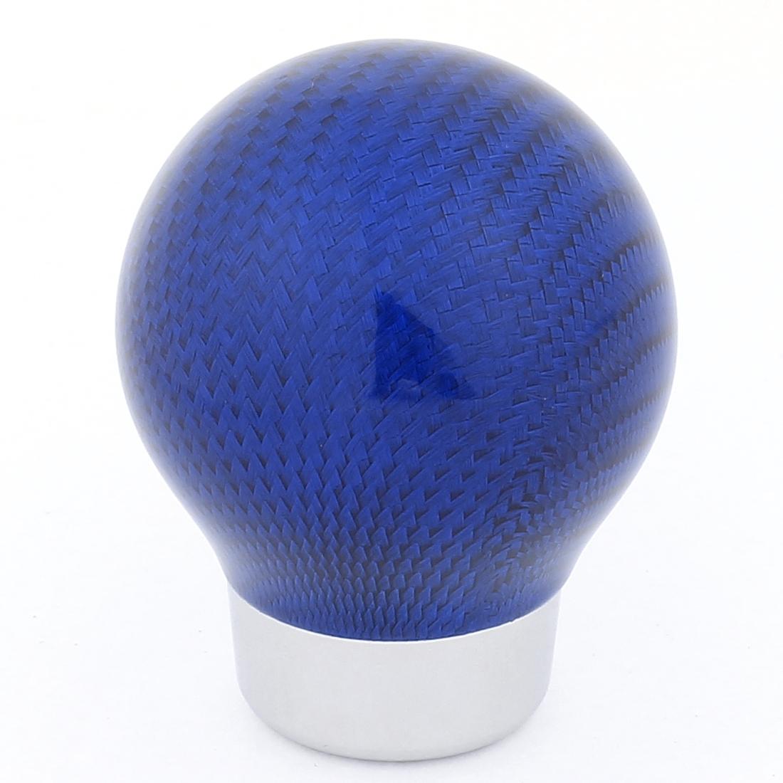 Blue Silver Tone Aluminum Carbon Fiber Round Manual Stick Gear Shift Knob for Car
