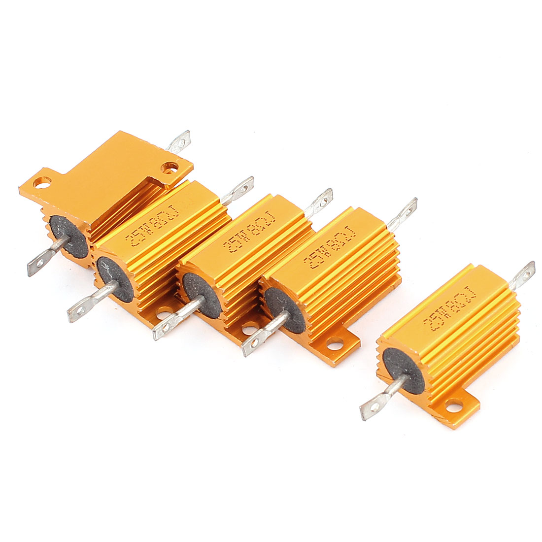 5 Pcs 25W 8 Ohm Wirewound Aluminium Housing Power Resistance Resistor