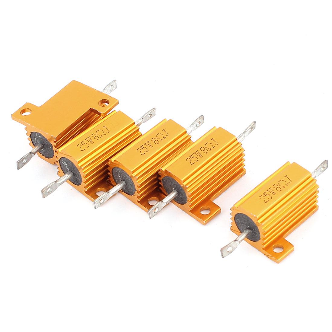 5 Pcs 25W 8 Ohm Wirewound Aluminium Housing Power Resistance Resistor