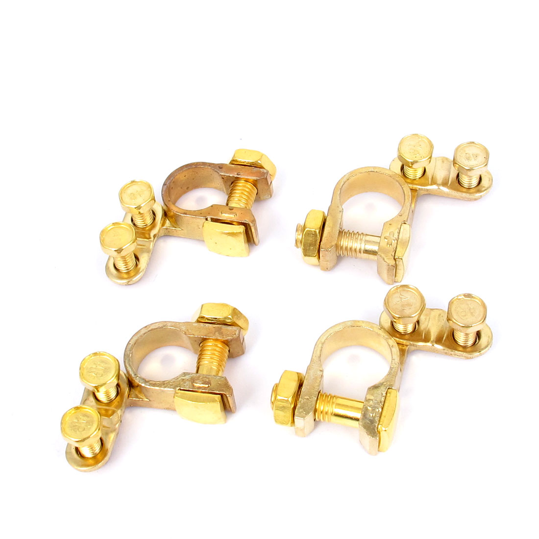 Replacement Auto Car Battery Terminal Clamp Clips Brass Connector 4Pcs