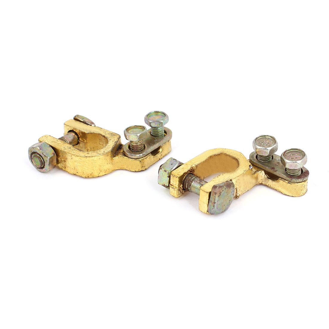 Replacement Auto Car Battery Terminal Clamp Clips Brass Connector 2Pcs