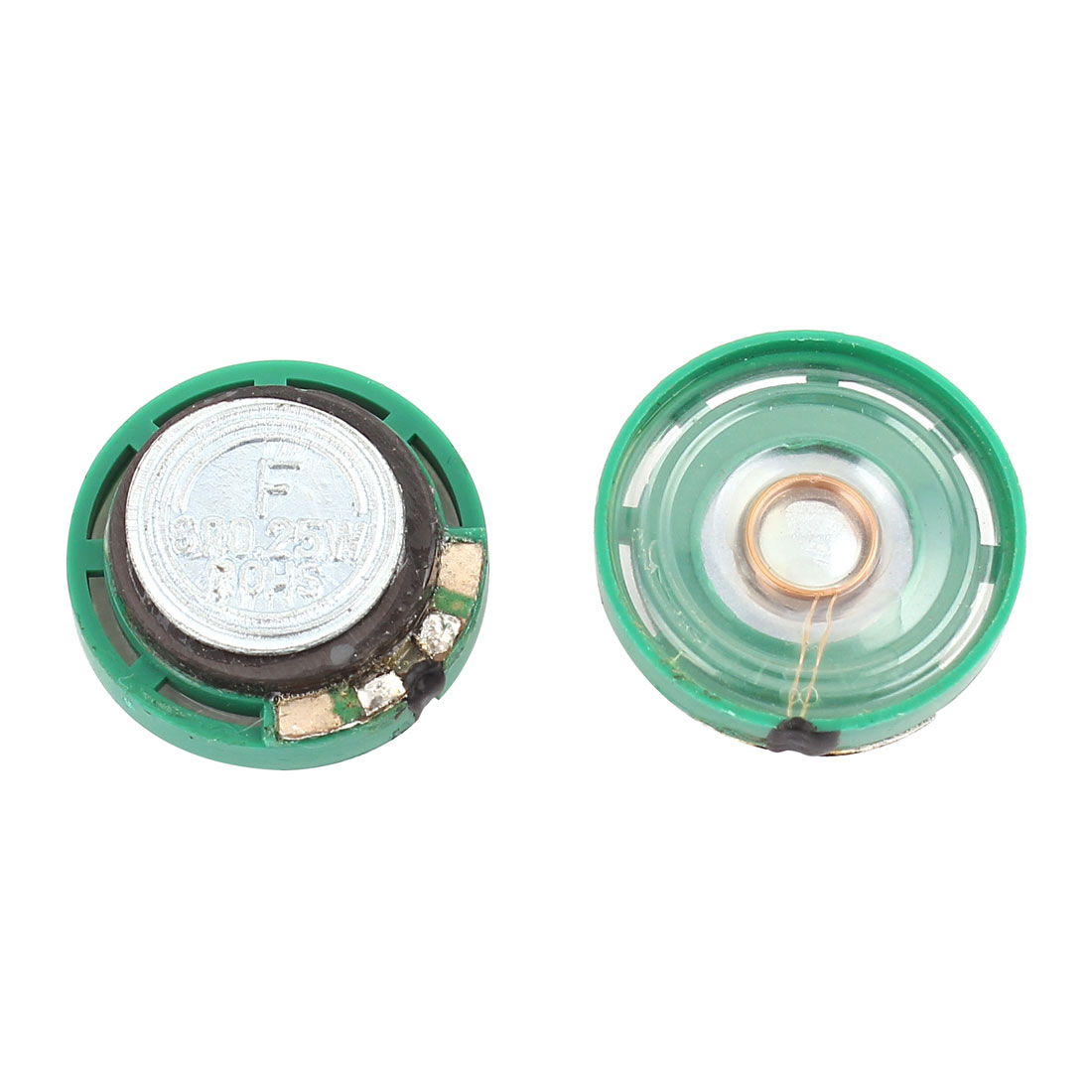 2Pcs 0.25W 8 Ohm 21mm Dia Green Plastic Shell External Magnetic Magnet Electronic Speaker Loudspeaker