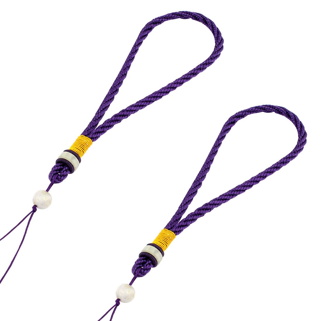 "2pcs Faux Jade Bead Decor Purple Nylon Braided Hanging Lanyard Phone Bag Hanger Strap 28cm 11"" Girth"