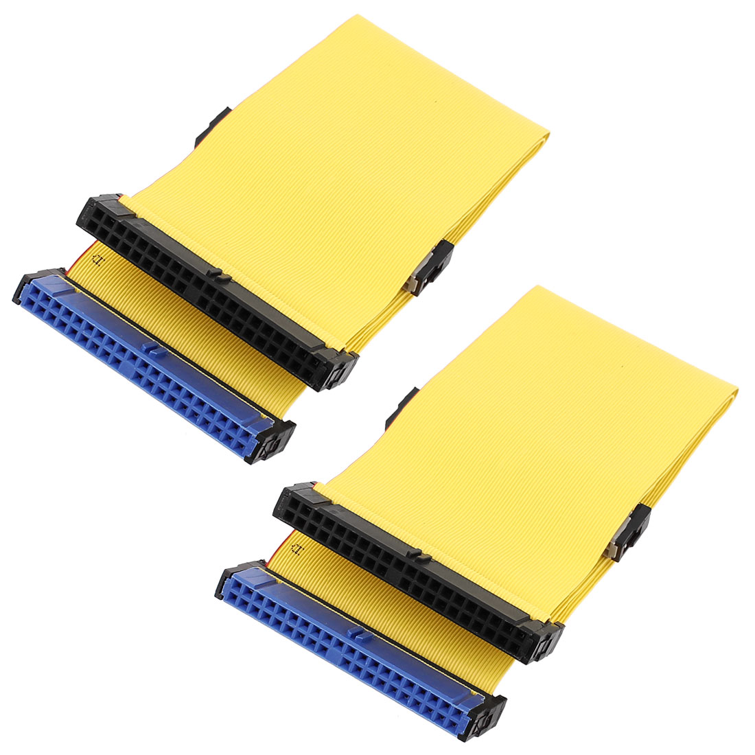 2pcs 18 Inch 40-Pin Female IDE (PATA) Extension Flat Ribbon Cable Yellow