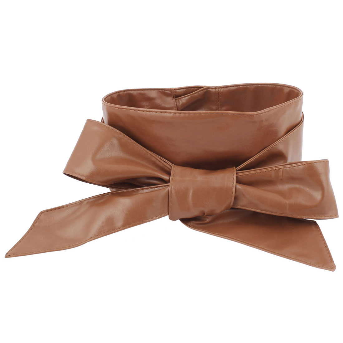 Lady Dress Wrap Around Self Tie Waistband Waistbelt Waist Belt Strap Band Camel
