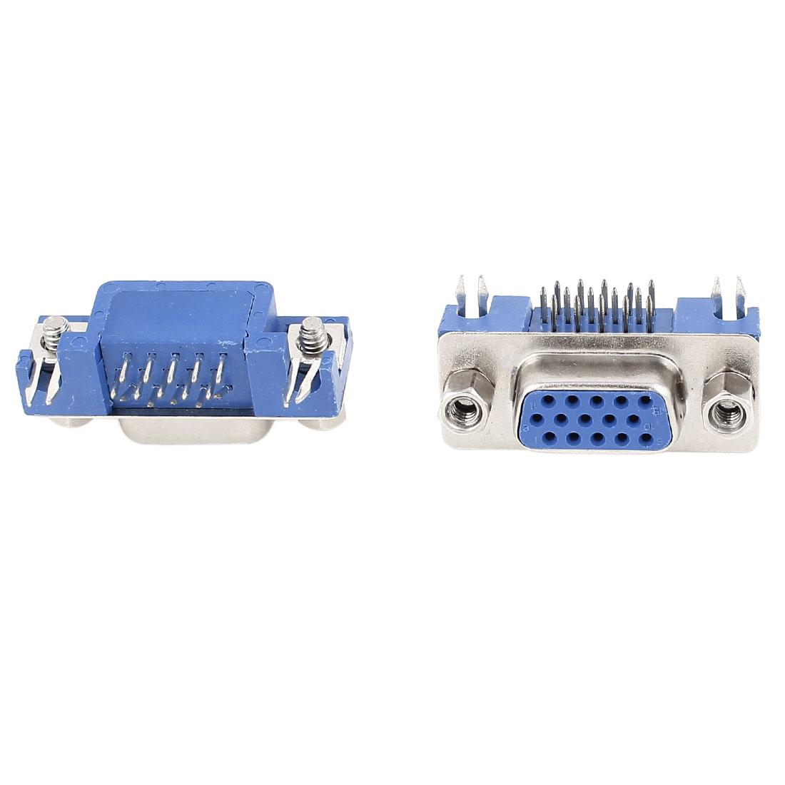 2 Pcs D-SUB 15 Pin 3 Rows Female Right Angle PCB Mounting VGA Connectors