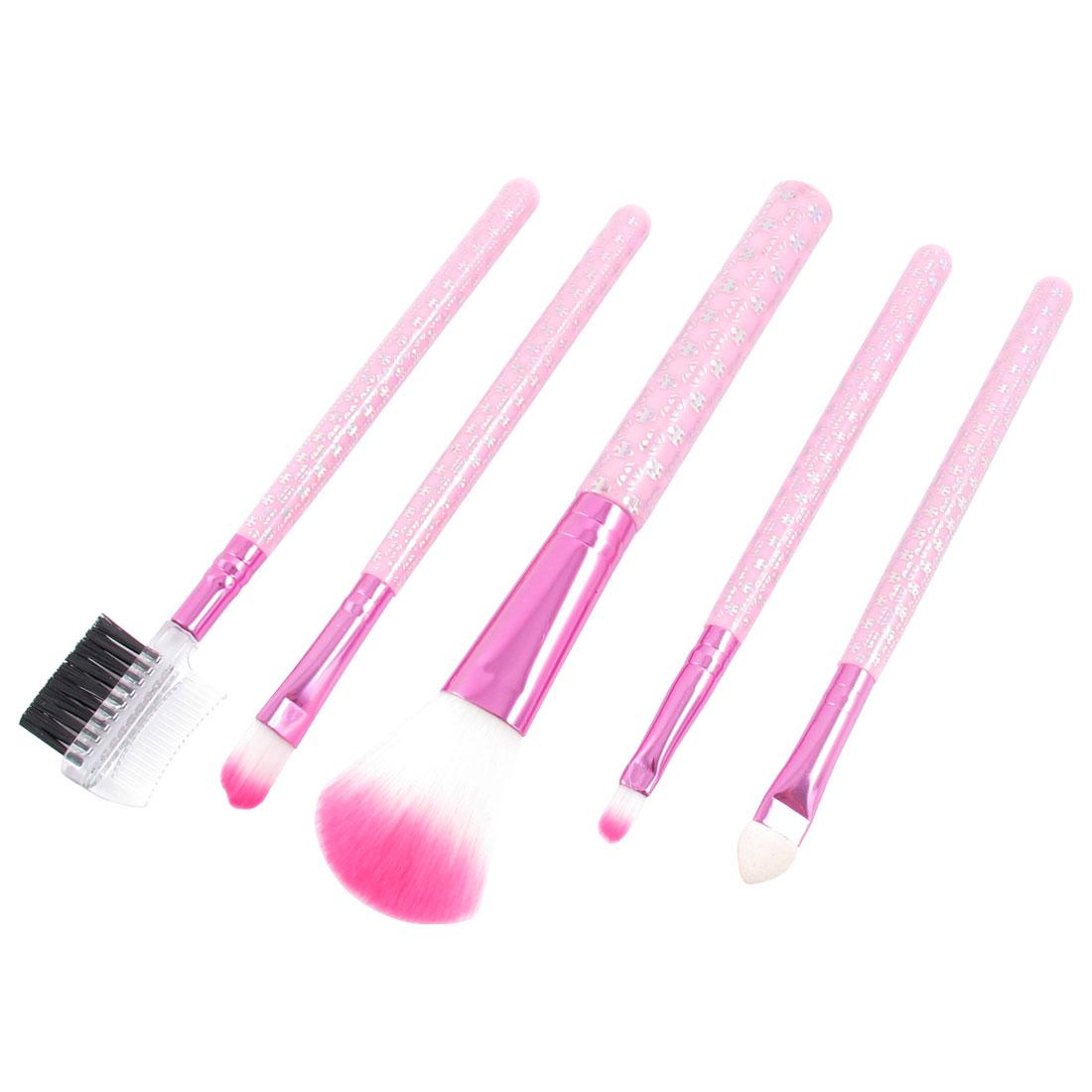 5 in 1 Eyeshadow Blusher Makeup Brushes Set Cosmetic Brush Kit Pink