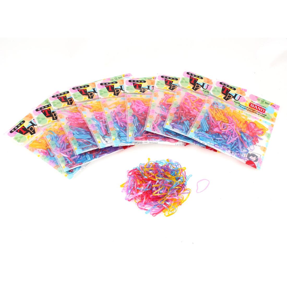 Ladies Poly Rubber Braiding Plaits Elastic Hair Bands Ties Assorted Color 2000pcs