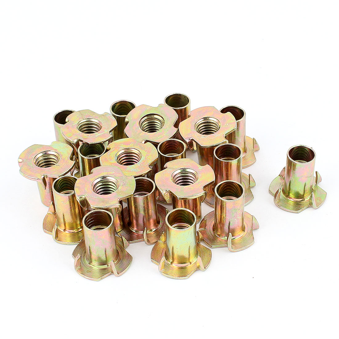 20Pcs 4 Prongs Zinc Plated T-Nut Tee Nut for 10mm Diameter Screw