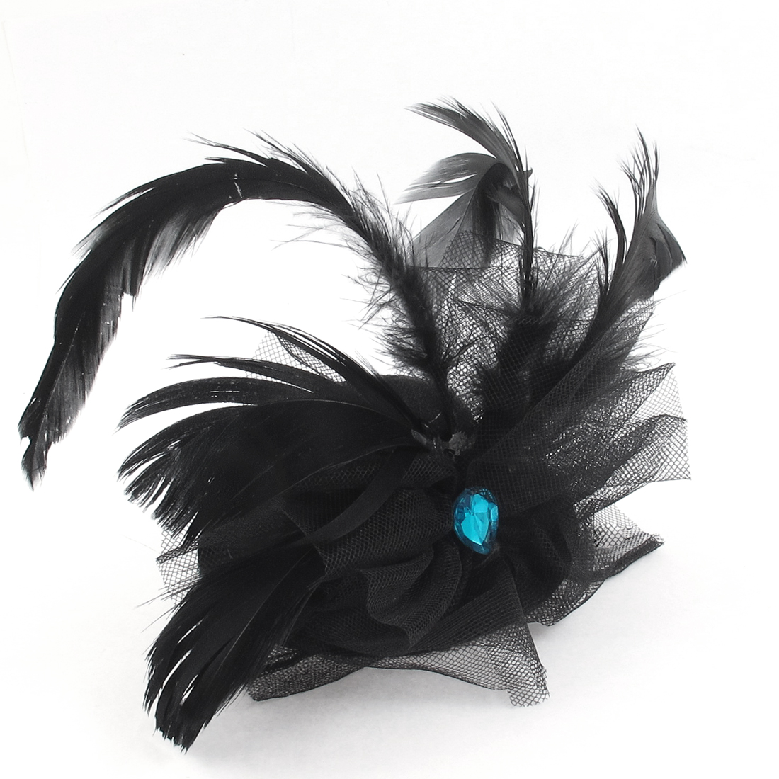 Women Rhinestone Feather Decor Fascinator Party Bow Hair Clip Mini Top Hat Black
