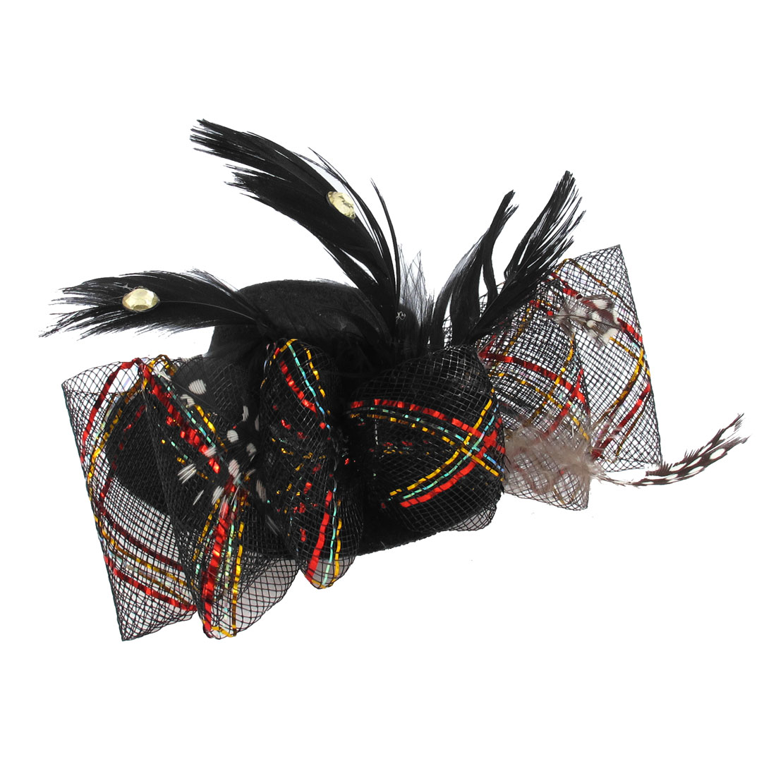 Lady Bowtie Net Feather Decor Fascinator Party Bow Hair Clip Mini Top Hat Black