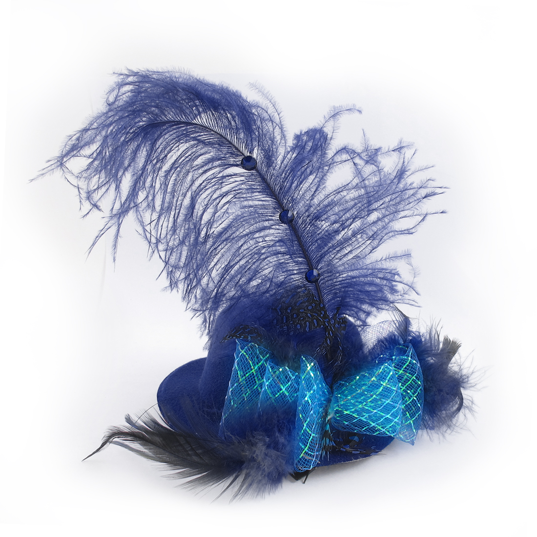 Lady Bowtie Feather Accent Fascinator Party Hair Clip Mini Top Hat Royal Blue