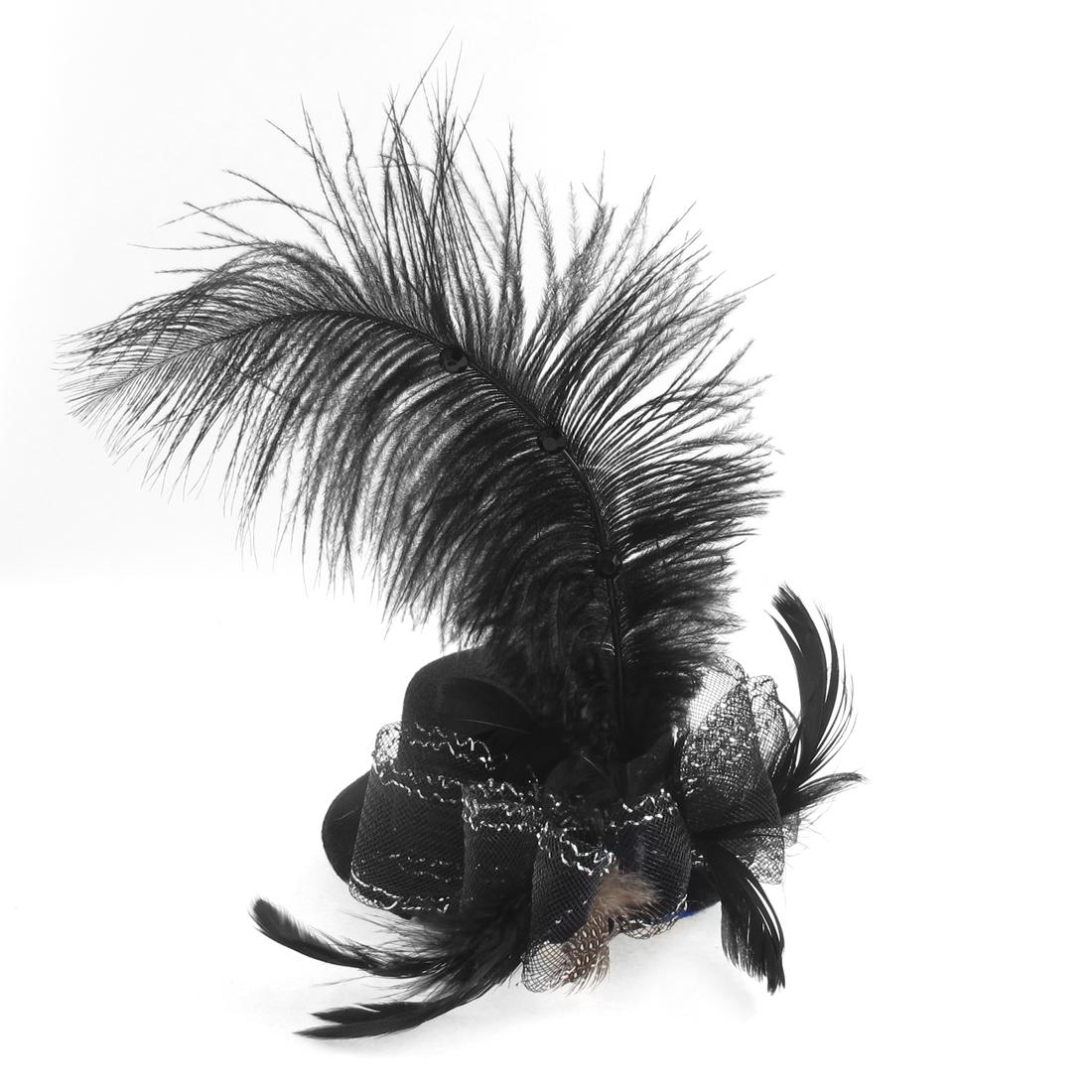Woman Bowtie Net Feather Accent Fascinator Party Hair Clip Mini Top Hat Black