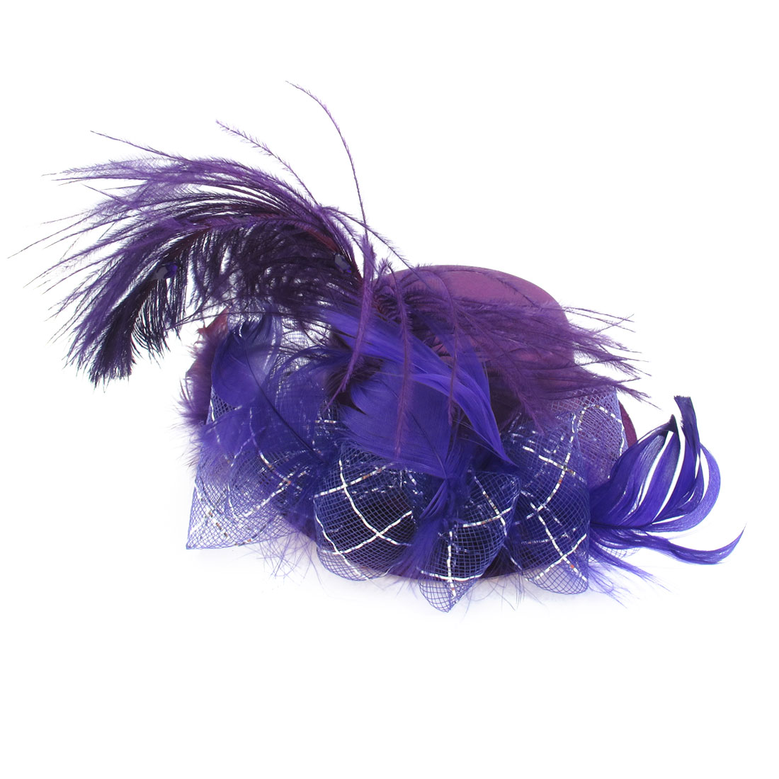 Lady Bowknot Net Feather Accent Fascinator Party Hair Clip Mini Top Hat Purple