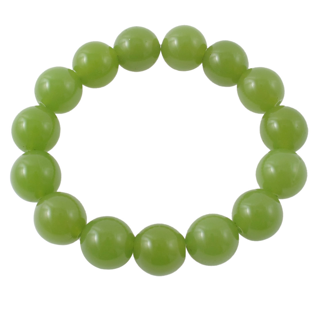 Woman Man Faux Jade Elastic 15 Round Beads Wrist Decor Bangle Bracelet Green