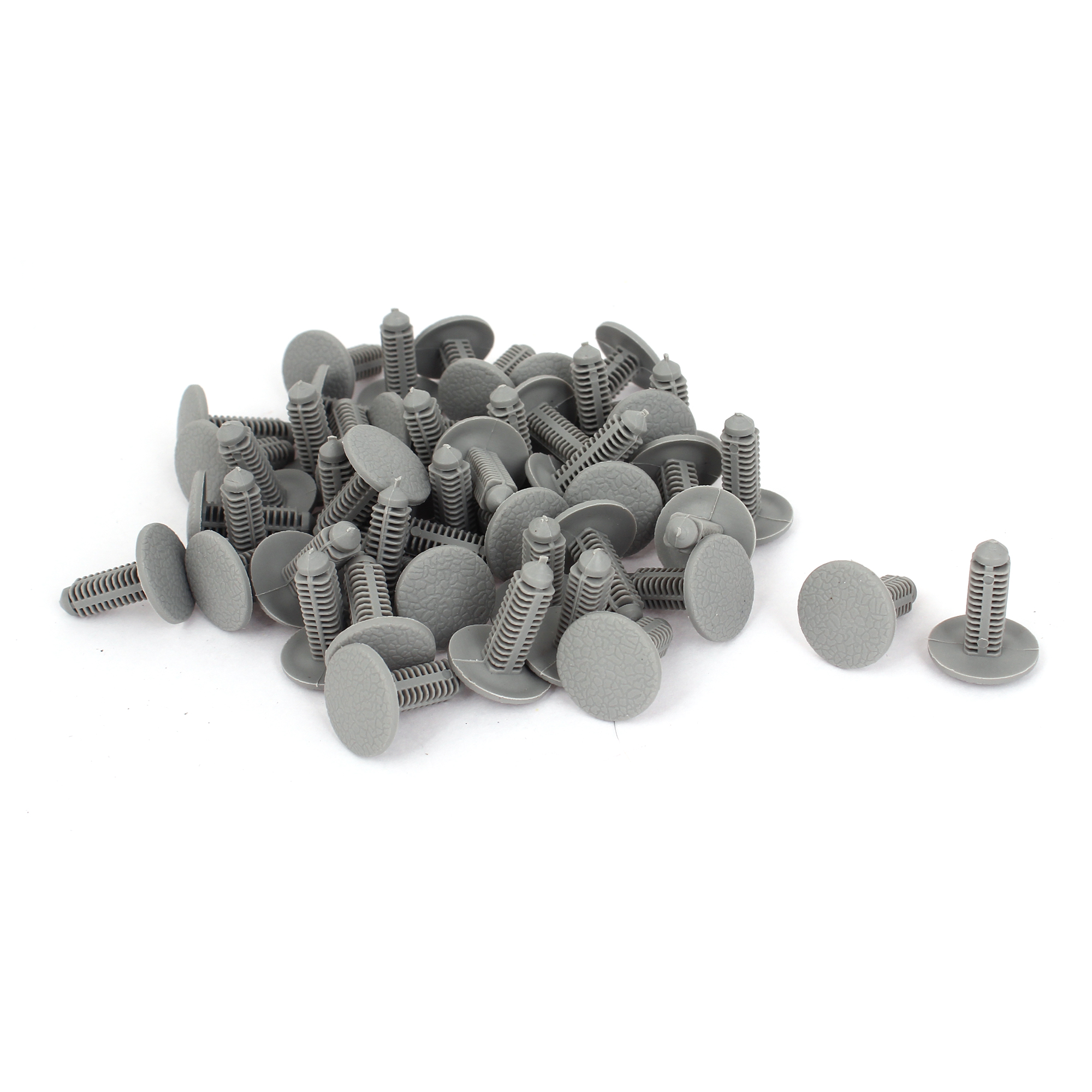 50 Pcs Gray Plastic Rivet Fastener Mud Flaps Bumper Fender Clips 7mm x 19mm x 22mm