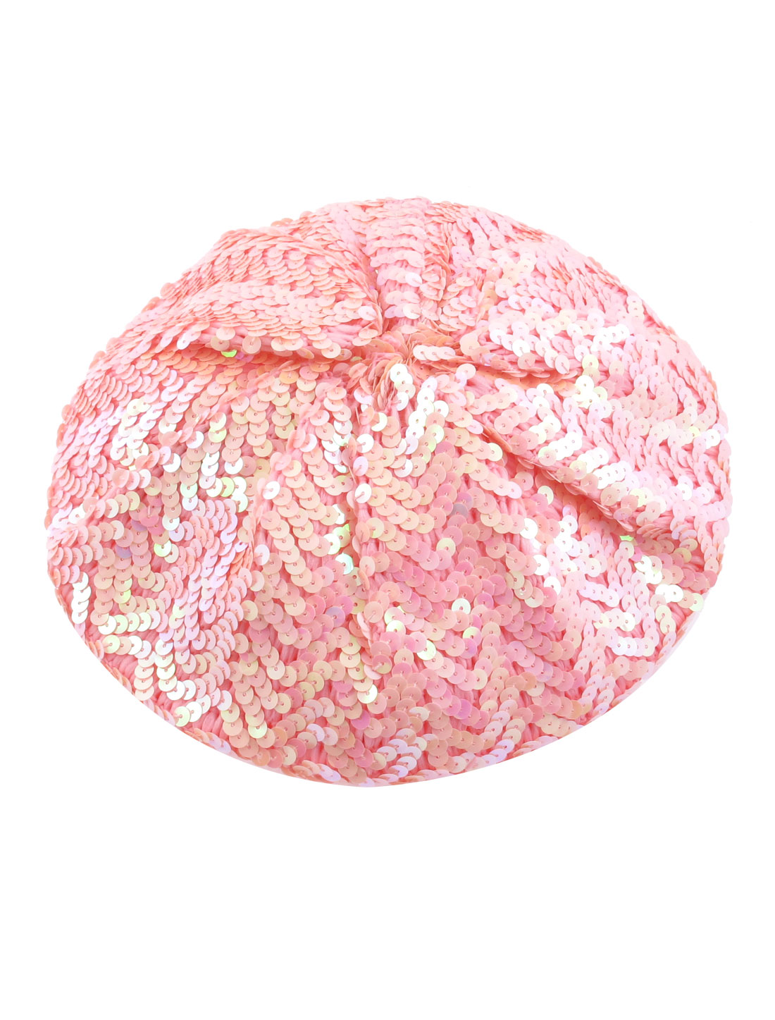 Woman Stretch Shimmer Sparkly Shining Sequin Costume Beret Cap Beanie Hat Pink